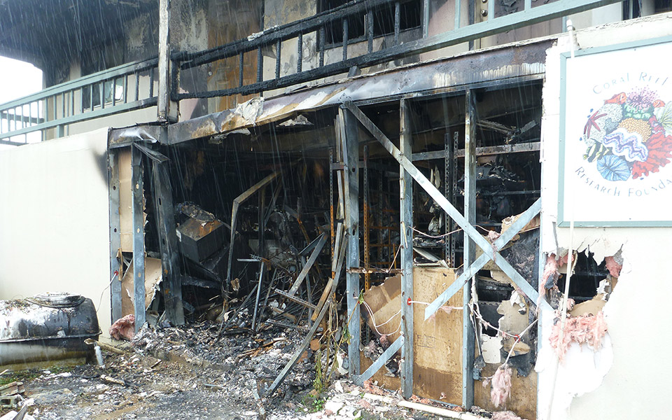 Effects of the fire that destroyed the lab.