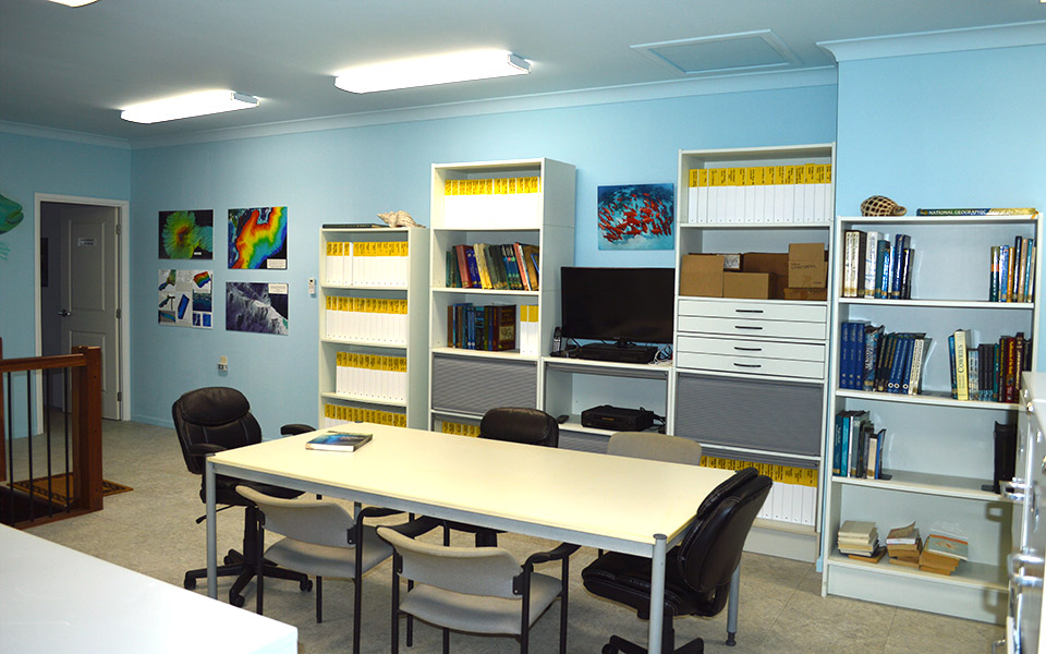Library to conference room on left