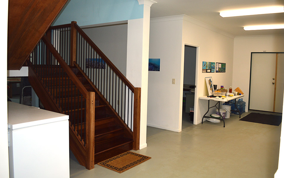 Indoor stairs to library/conference room